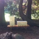 """Les ruches (tour, barre), The apiaries (tower, block), 2015, Faïence émaillée, Enamelled Earthenware, honey colour inside, white outside, wood, 45 x 20 x 20 cm et 20 x 20 x 45 cm Exhibition view """"Sèvres Outdoors"""" at Cité de la Céramique, Sèvres, 2016"""