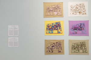 Radar au fil du temps, 2014  Embroiderers: Fadma Bamarouf (1972), Sylvie Ziane (2000), Fatima Ouahid (2005), Jemia Chelkine (2006), Hasna Bamarouf (2007), Naïma Guessouss (2014) Séries of 6 embroideries photo © Walid Rashid