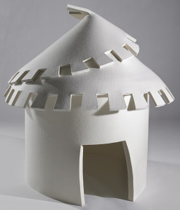 Laure Tixier, Plaid Houses, 2008, felt, 150 x 150 cm, collection Mudam luxembourg, photo © Remi Villaggi 2009