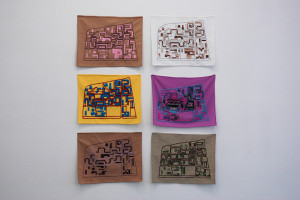 Radar au fil du temps, 2014  Embroiderers: Fadma Bamarouf (1972), Sylvie Ziane (2000), Fatima Ouahid (2005), Jemia Chelkine (2006), Hasna Bamarouf (2007), Naïma Guessouss (2014) Séries of 6 embroideries, texte fabric, thread and perls [6x] 40 x 31 cm