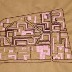 LaureTixier_Radar au fil du temps, 2014  Embroiderer: Fadma Bamarouf (1972), Series of 6 embroideries, texte fabric, thread and perls [6x] 40 x 31 cm