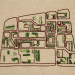 LaureTixier_Radar au fil du temps, 2014  Embroiderer: Naïma Guessouss (2014) Series of 6 embroideries, texte fabric, thread and perls [6x] 40 x 31 cm